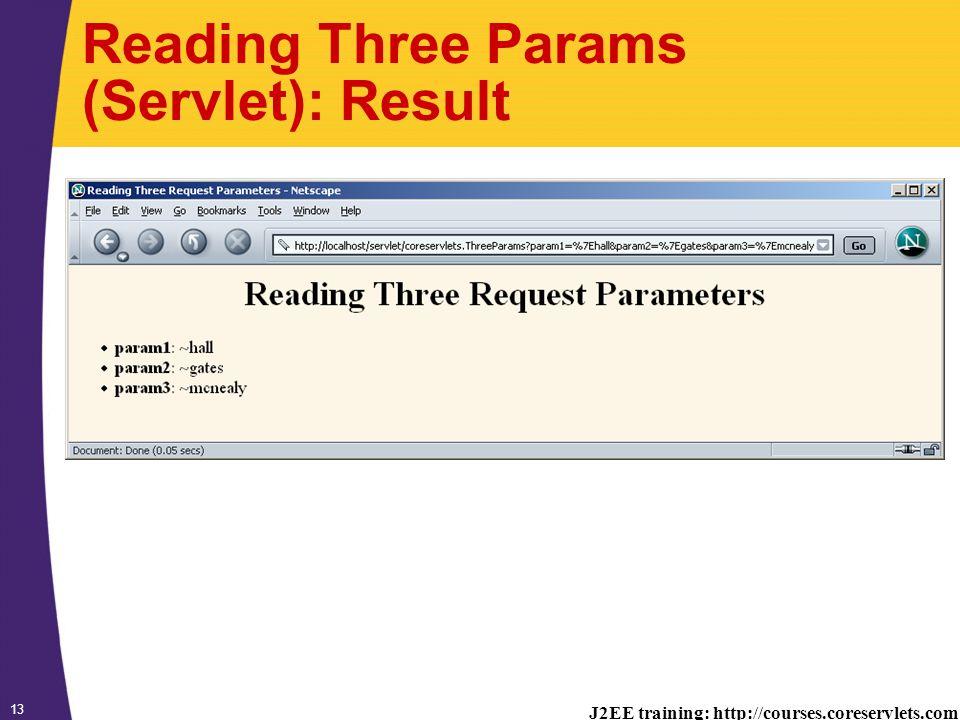 J2EE training: http://courses.coreservlets.com 13 Reading Three Params (Servlet): Result