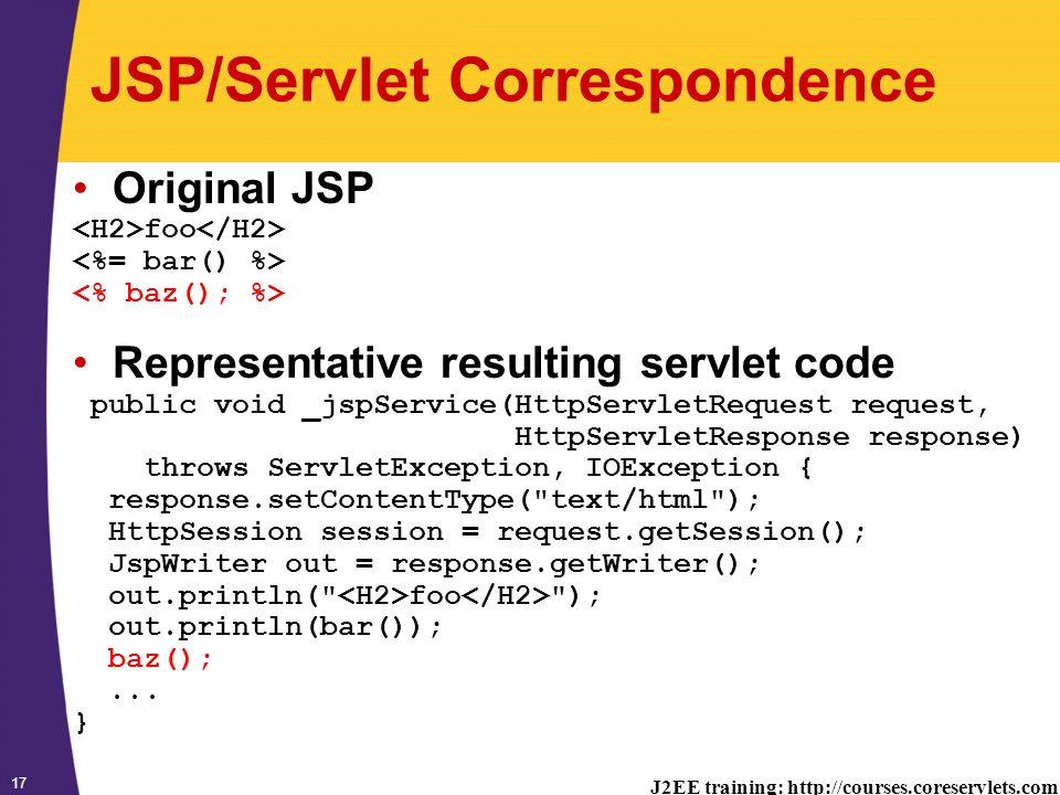 J2EE training: http://courses.coreservlets.com 17 JSP/Servlet Correspondence Original JSP foo Representative resulting servlet code public void _jspService(HttpServletRequest request, HttpServletResponse response) throws ServletException, IOException { response.setContentType( text/html ); HttpSession session = request.getSession(); JspWriter out = response.getWriter(); out.println( foo ); out.println(bar()); baz();...