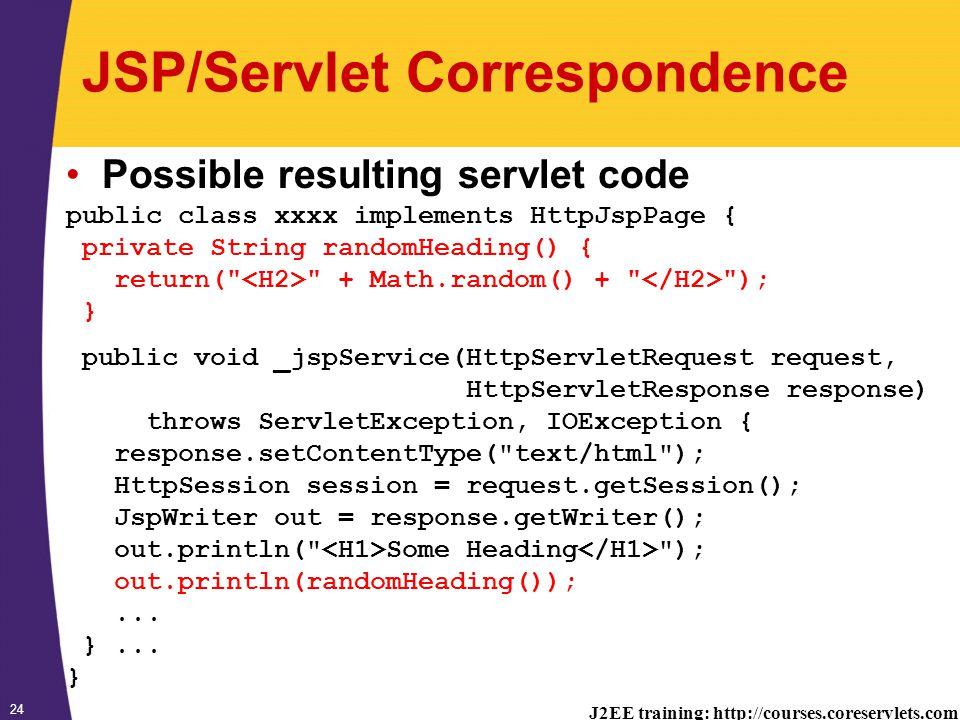 J2EE training: http://courses.coreservlets.com 24 JSP/Servlet Correspondence Possible resulting servlet code public class xxxx implements HttpJspPage { private String randomHeading() { return( + Math.random() + ); } public void _jspService(HttpServletRequest request, HttpServletResponse response) throws ServletException, IOException { response.setContentType( text/html ); HttpSession session = request.getSession(); JspWriter out = response.getWriter(); out.println( Some Heading ); out.println(randomHeading());...