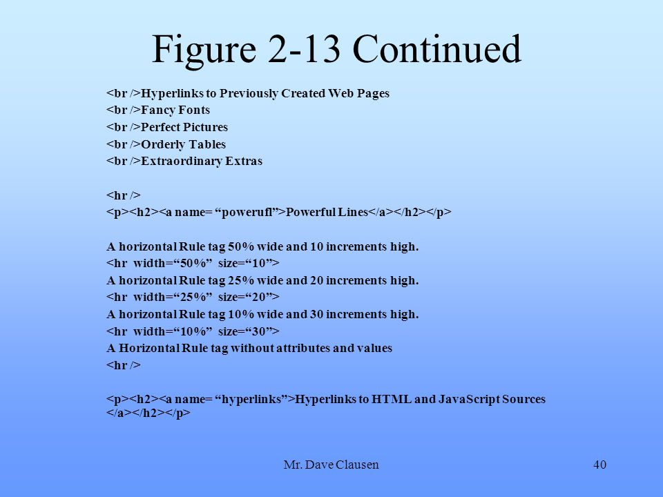 Mr. Dave Clausen40 Figure 2-13 Continued Hyperlinks to Previously Created Web Pages Fancy Fonts Perfect Pictures Orderly Tables Extraordinary Extras P