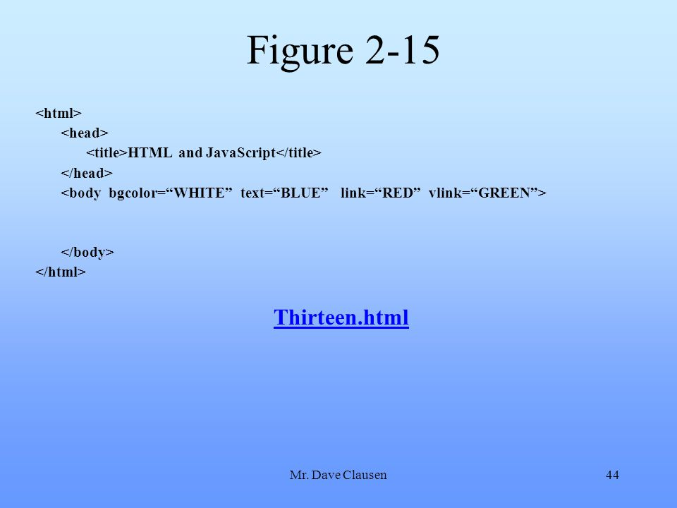 Mr. Dave Clausen44 Figure 2-15 HTML and JavaScript Thirteen.html
