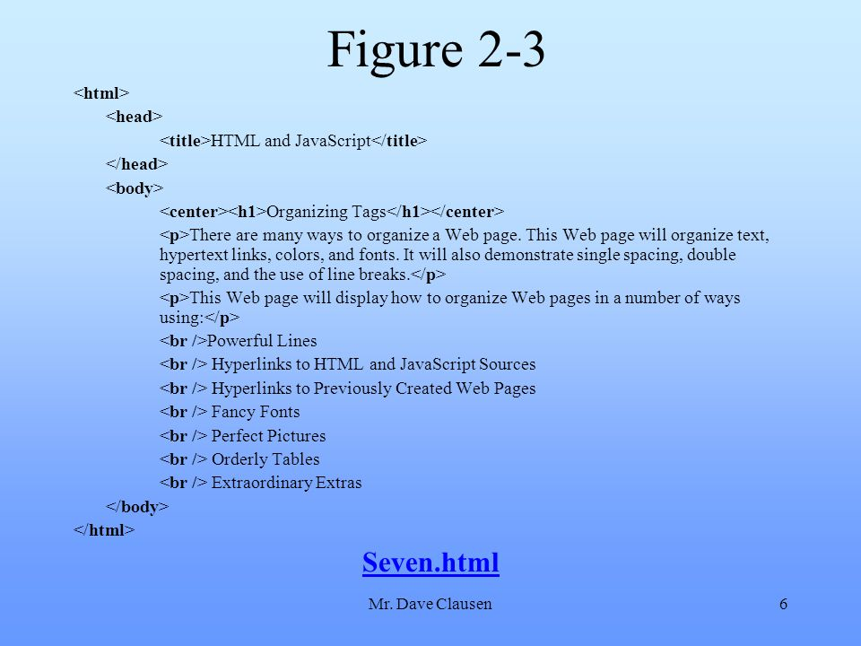 Mr. Dave Clausen6 Figure 2-3 HTML and JavaScript Organizing Tags There are many ways to organize a Web page. This Web page will organize text, hyperte