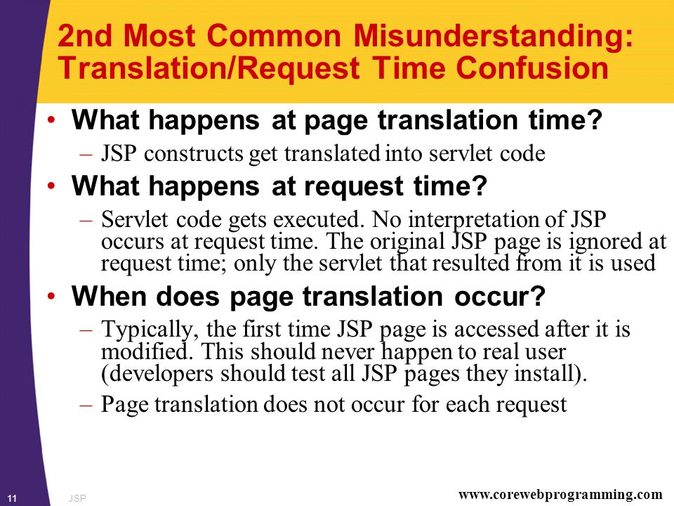 www.corewebprogramming.com JSP11 2nd Most Common Misunderstanding: Translation/Request Time Confusion What happens at page translation time.