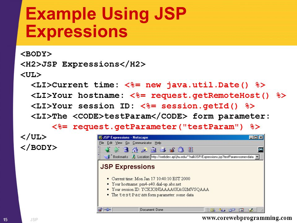 www.corewebprogramming.com JSP15 Example Using JSP Expressions JSP Expressions Current time: Your hostname: Your session ID: The testParam form parameter: