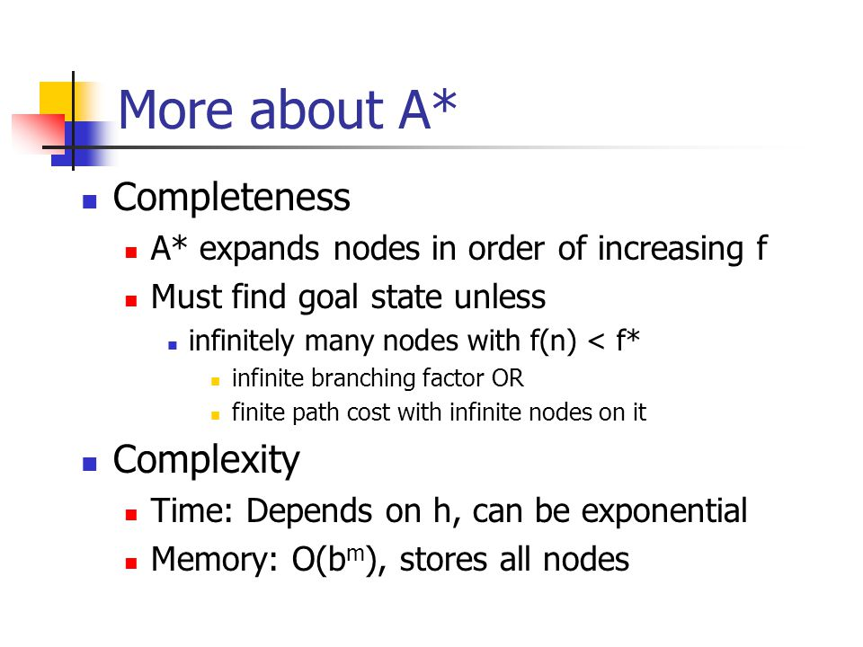 More about A* Completeness A* expands nodes in order of increasing f Must find goal state unless infinitely many nodes with f(n) < f* infinite branching factor OR finite path cost with infinite nodes on it Complexity Time: Depends on h, can be exponential Memory: O(b m ), stores all nodes