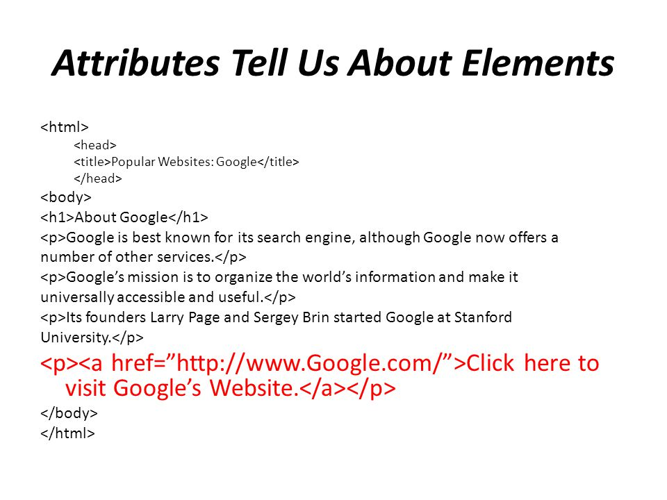 Attributes Tell Us About Elements Popular Websites: Google About Google Google is best known for its search engine, although Google now offers a numbe