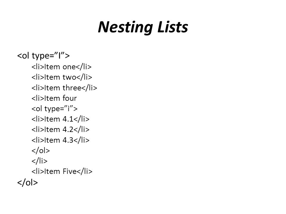 Nesting Lists Item one Item two Item three Item four Item 4.1 Item 4.2 Item 4.3 Item Five