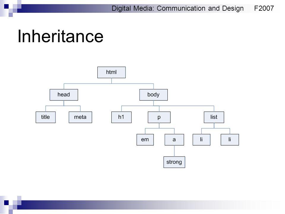 Digital Media: Communication and DesignF2007 Inheritance