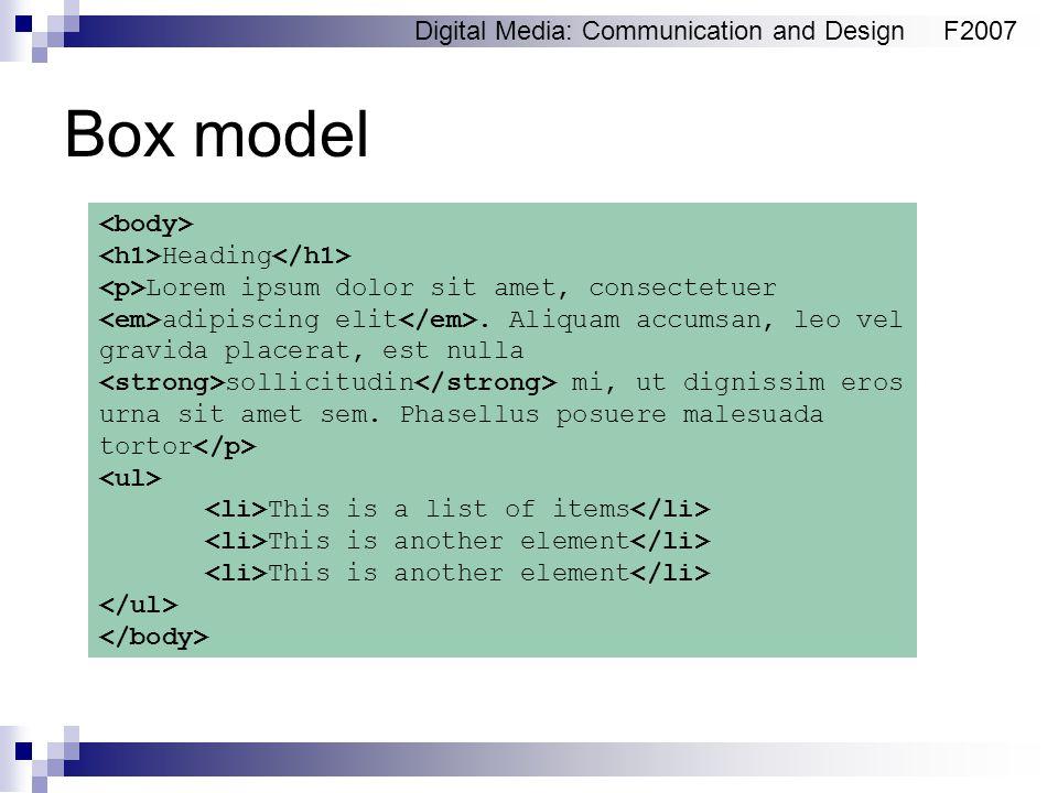 Digital Media: Communication and DesignF2007 Box model Heading Lorem ipsum dolor sit amet, consectetuer adipiscing elit. Aliquam accumsan, leo vel gra