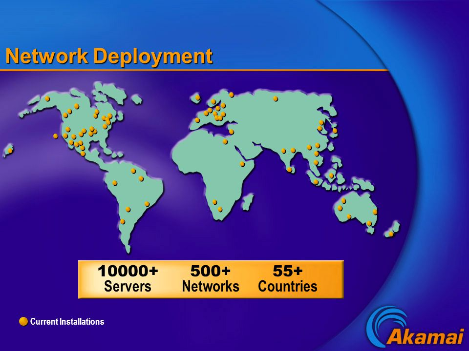 Current Installations Network Deployment 10000+ Servers 500+ Networks 55+ Countries