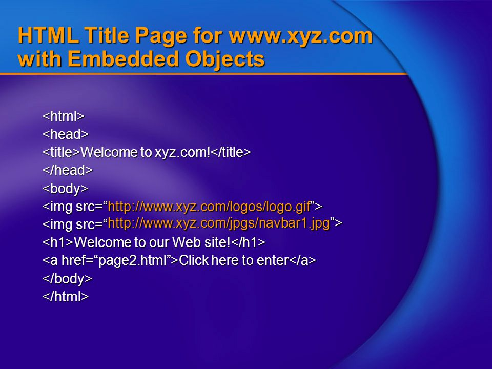 "HTML Title Page for www.xyz.com with Embedded Objects <html><head> Welcome to xyz.com! Welcome to xyz.com! </head><body> <img src="" Welcome to our Web"