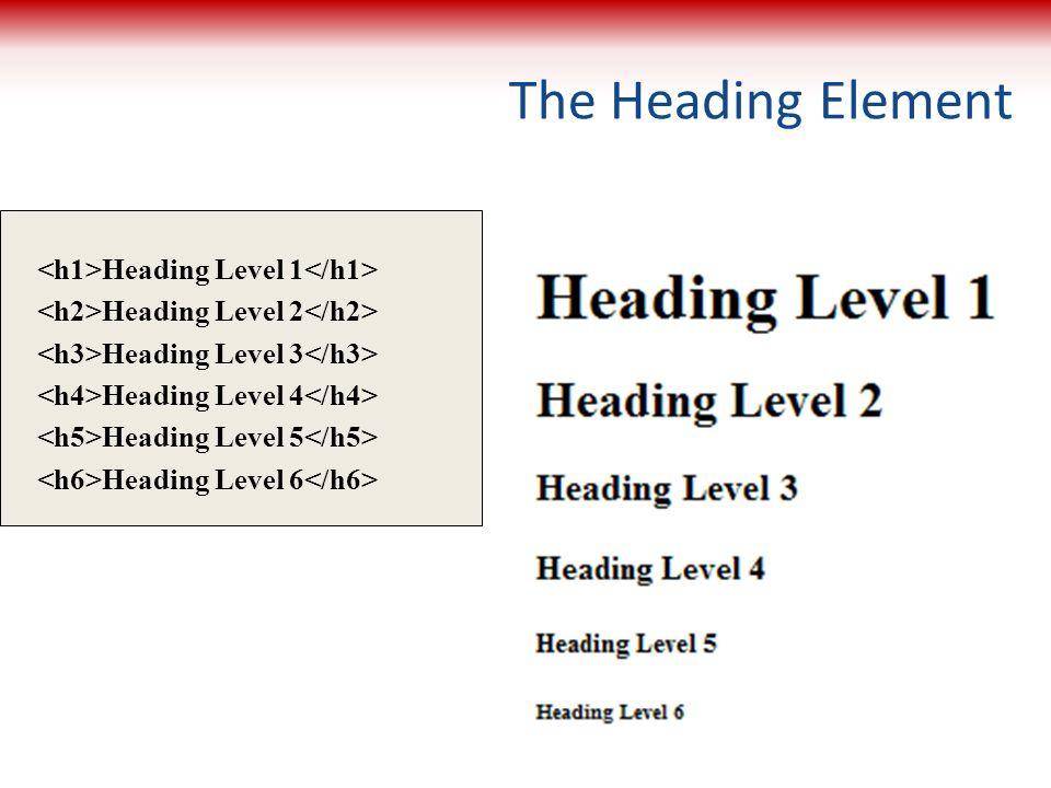 The Heading Element Heading Level 1 Heading Level 2 Heading Level 3 Heading Level 4 Heading Level 5 Heading Level 6