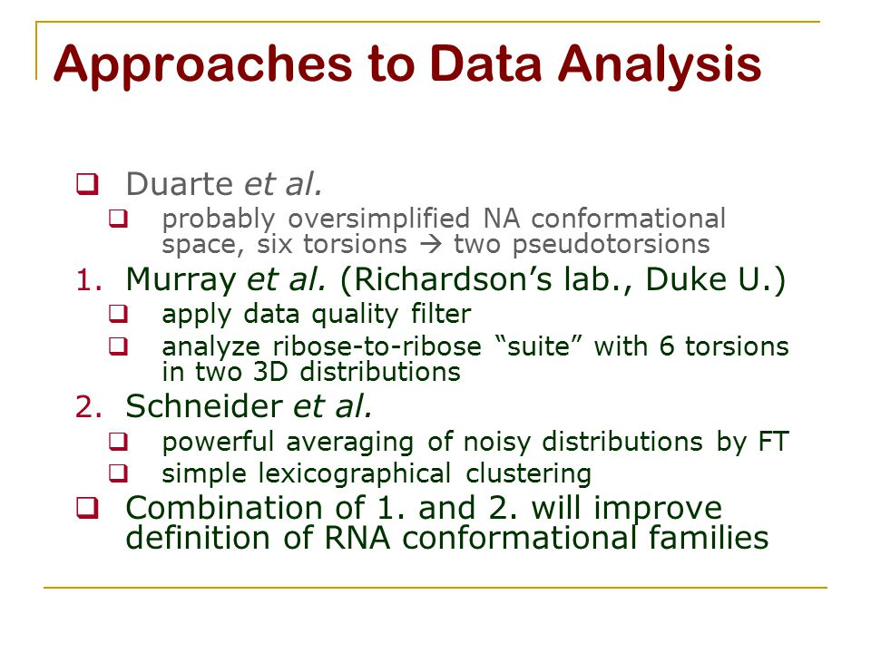 Approaches to Data Analysis  Duarte et al.