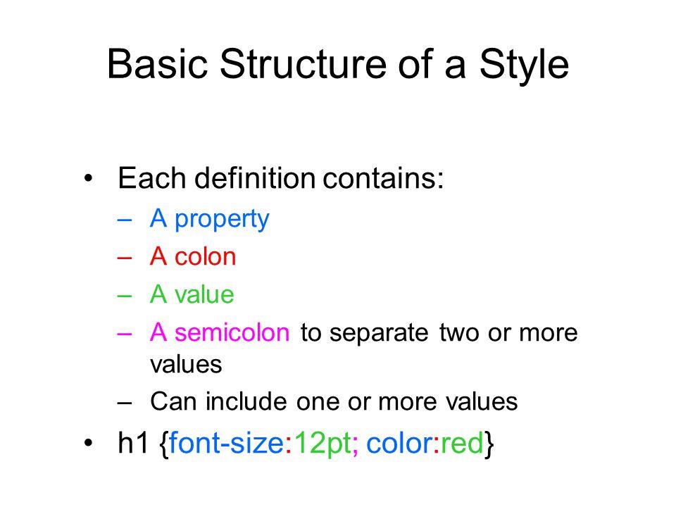 Style Precedence 1.External style sheet 2.Embedded styles 3.Inline styles