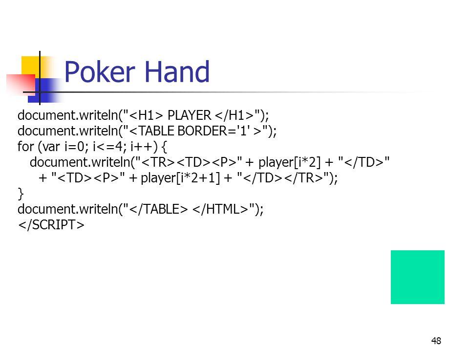 48 Poker Hand document.writeln( PLAYER ); document.writeln( ); for (var i=0; i<=4; i++) { document.writeln( + player[i*2] + + + player[i*2+1] + ); } document.writeln( );