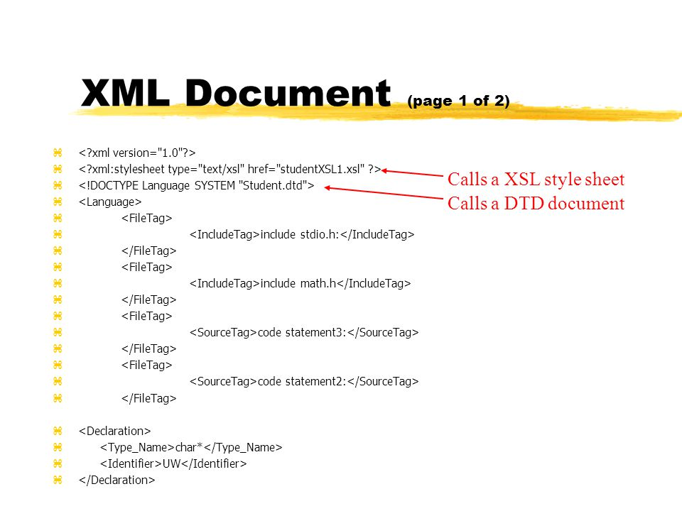 XML Document (page 1 of 2) z z include stdio.h: z z include math.h z z code statement3: z z code statement2: z z char* z UW z Calls a XSL style sheet Calls a DTD document