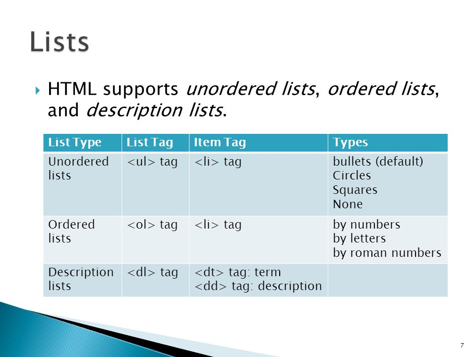  HTML supports unordered lists, ordered lists, and description lists.