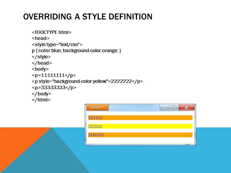 OVERRIDING A STYLE DEFINITION p { color:blue; background-color:orange; } 11111111 2222222 33333333