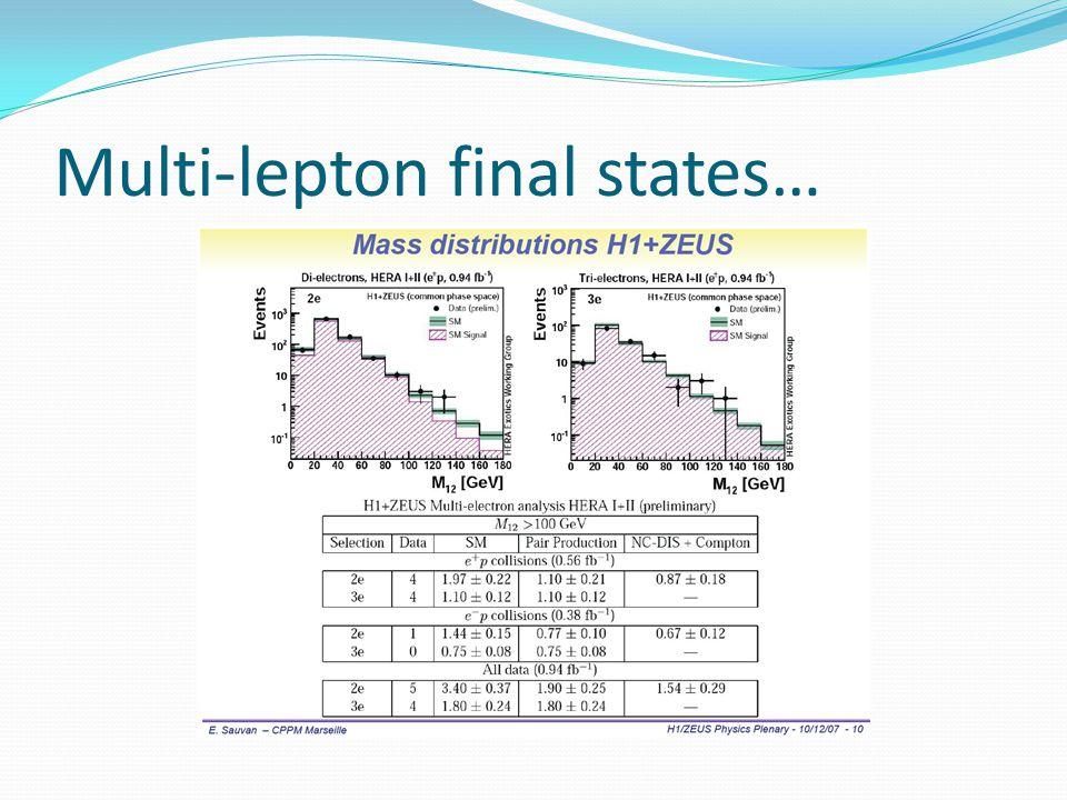 Multi-lepton final states…