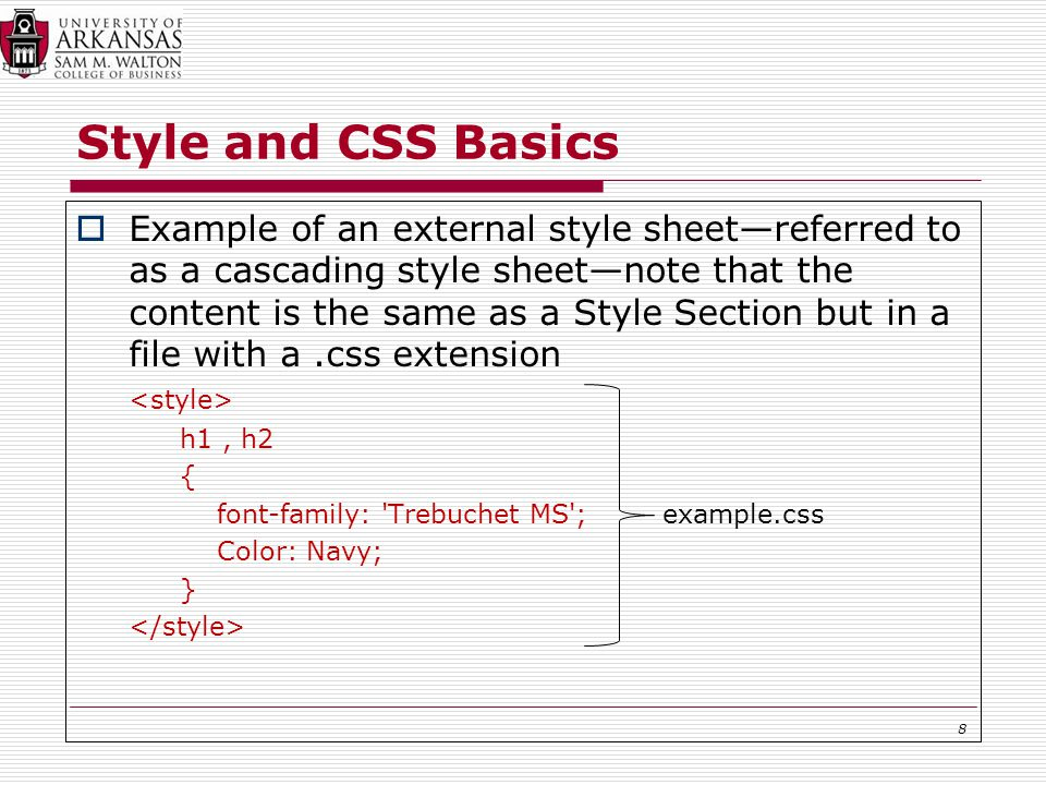 Style and CSS Basics  Example of an external style sheet—referred to as a cascading style sheet—note that the content is the same as a Style Section but in a file with a.css extension h1, h2 { font-family: Trebuchet MS ; example.css Color: Navy; } 8