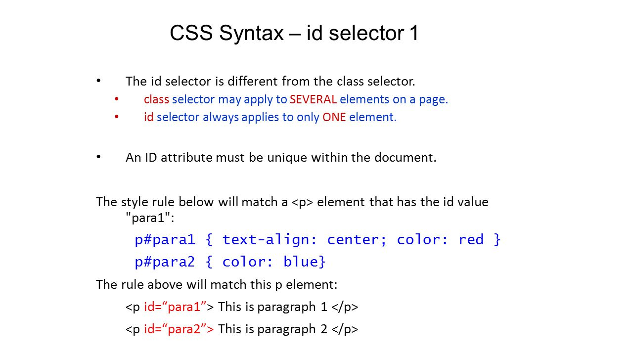CSS Syntax – id selector 1 The id selector is different from the class selector.