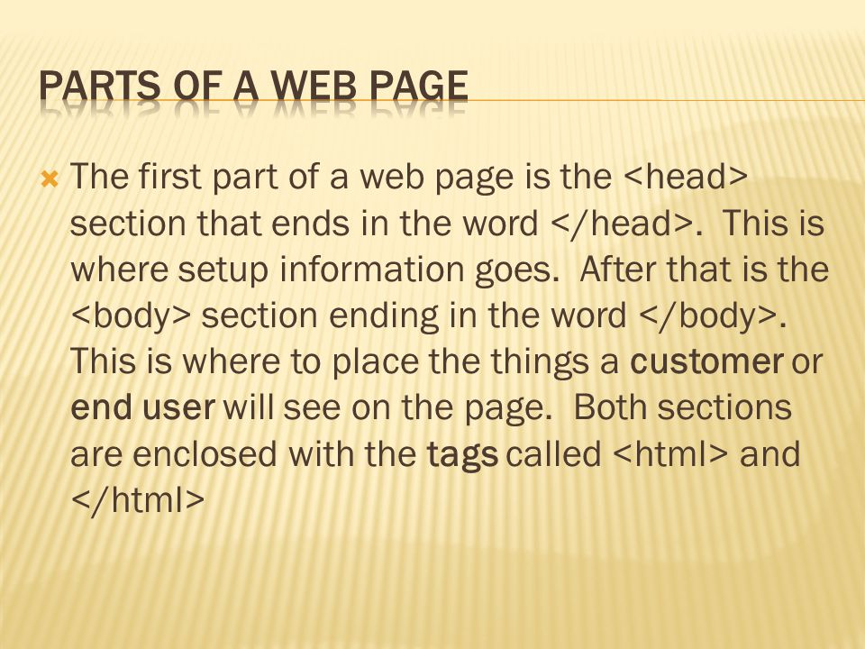  In the head section the programmer can designate settings for different kinds of text in the page.