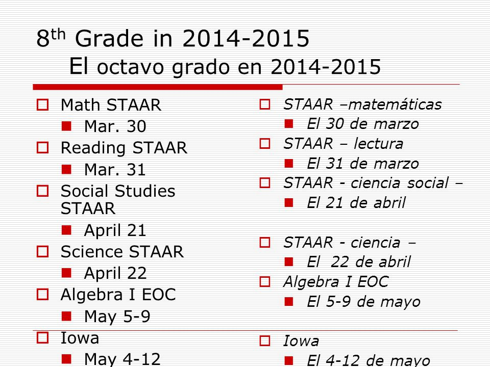 8 th Grade in 2014-2015 El octavo grado en 2014-2015  Math STAAR Mar.