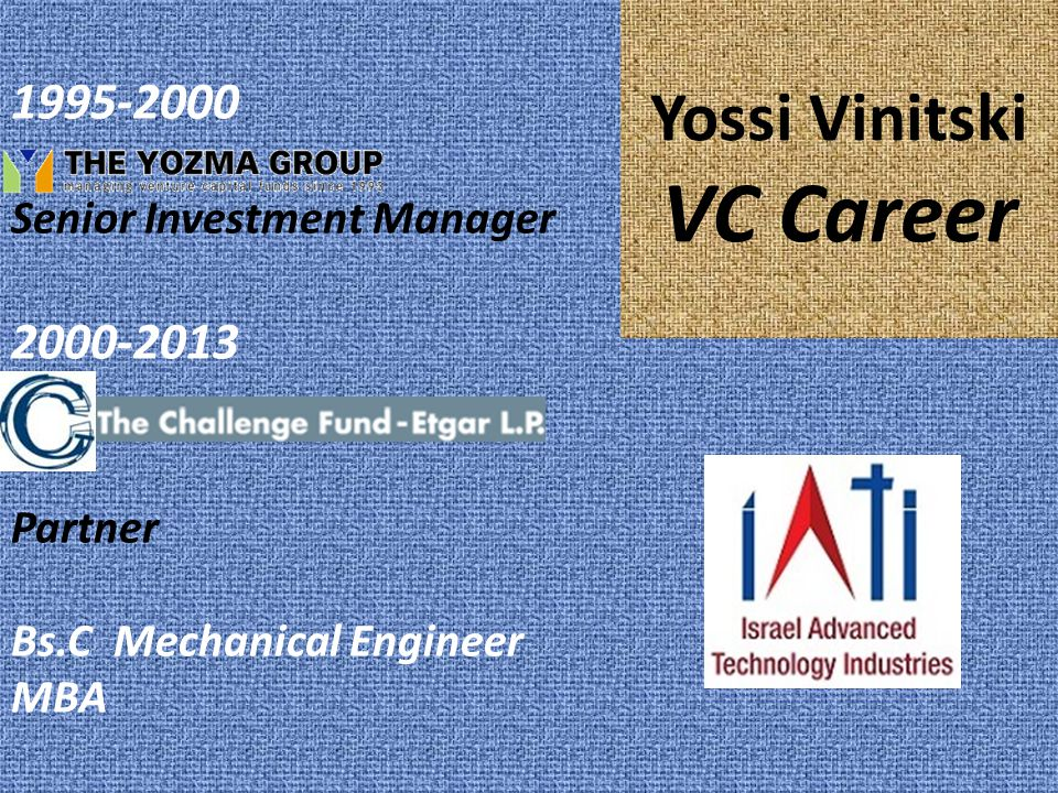 Yossi Vinitski VC Career 1995-2000 Senior Investment Manager 2000-2013 Partner Bs.C Mechanical Engineer MBA
