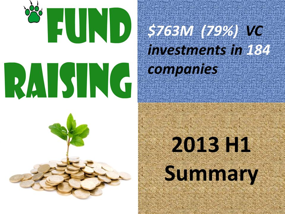 2013 H1 Summary $763M (79%) VC investments in 184 companies