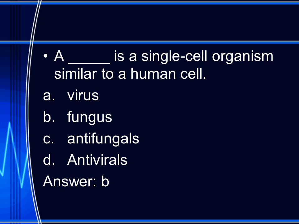 A _____ is a single-cell organism similar to a human cell. a.virus b.fungus c.antifungals d.Antivirals Answer: b