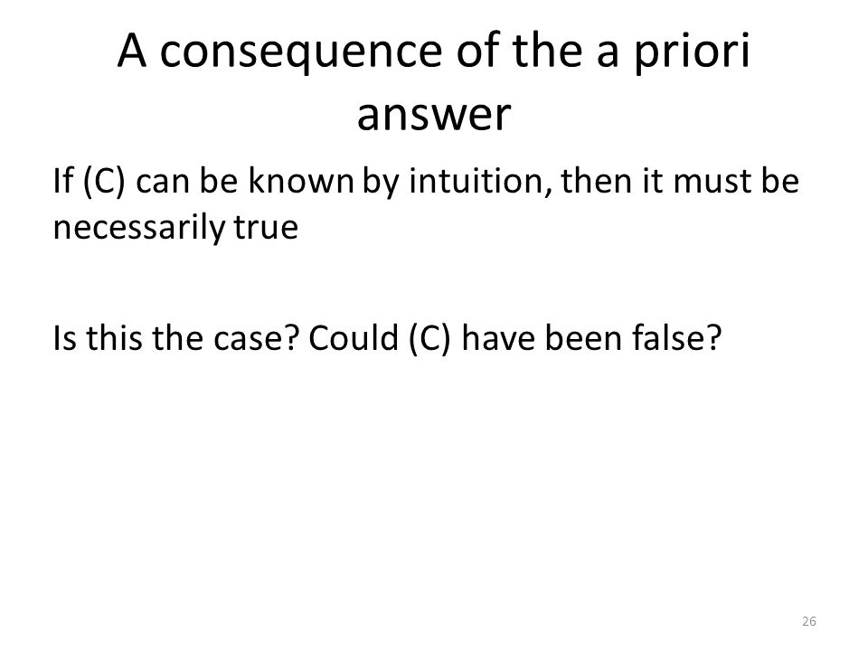 A consequence of the a priori answer If (C) can be known by intuition, then it must be necessarily true Is this the case.