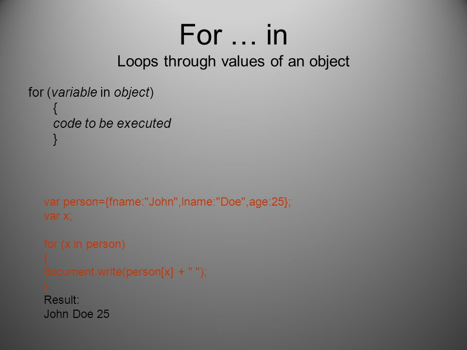 For … in Loops through values of an object for (variable in object) { code to be executed } var person={fname: