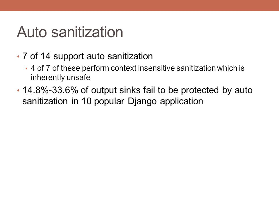 Auto sanitization 7 of 14 support auto sanitization 4 of 7 of these perform context insensitive sanitization which is inherently unsafe 14.8%-33.6% of