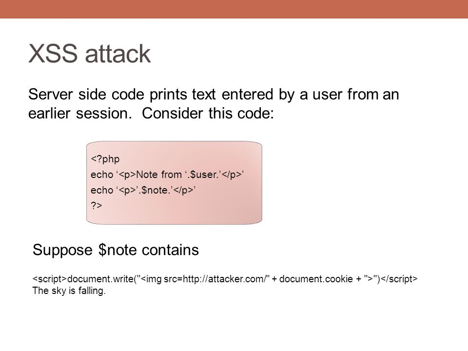 XSS attack Server side code prints text entered by a user from an earlier session.