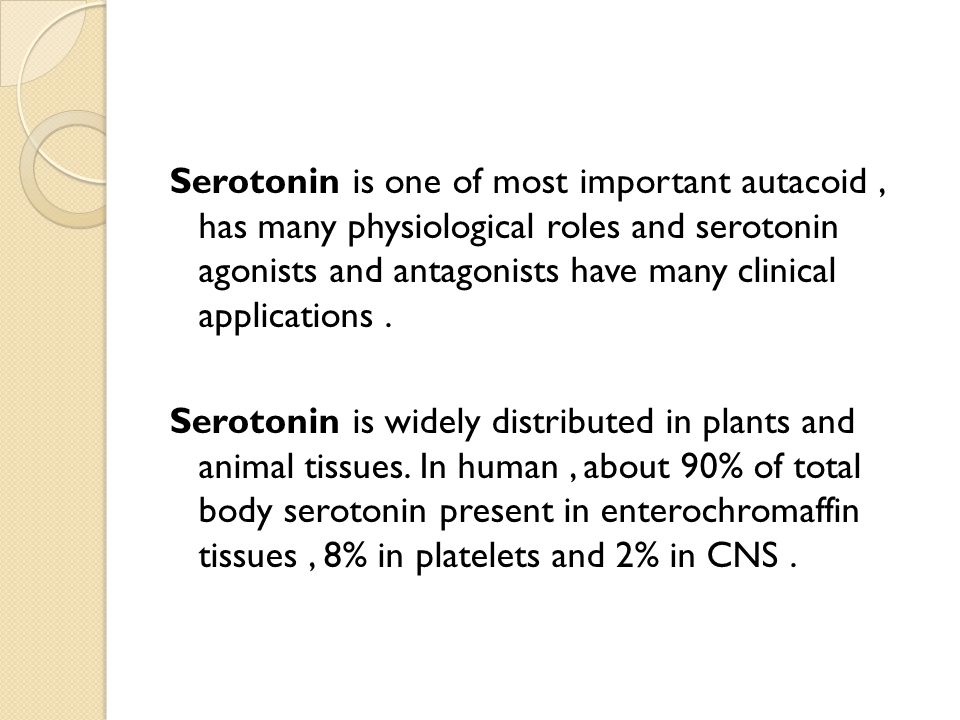 Serotonin is one of most important autacoid, has many physiological roles and serotonin agonists and antagonists have many clinical applications.