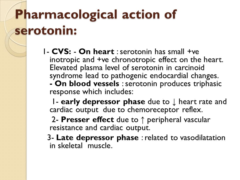 Pharmacological action of serotonin : Pharmacological action of serotonin : 1- CVS: - On heart : serotonin has small +ve inotropic and +ve chronotropic effect on the heart.