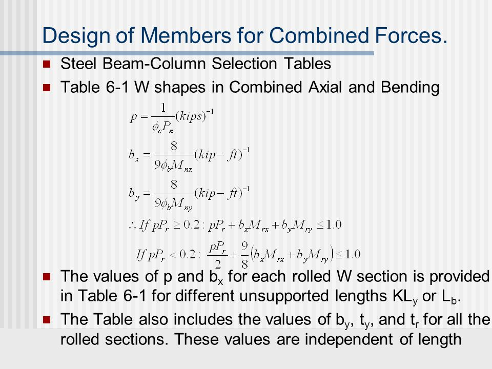 Design of Members for Combined Forces. Steel Beam-Column Selection Tables Table 6-1 W shapes in Combined Axial and Bending The values of p and b x for
