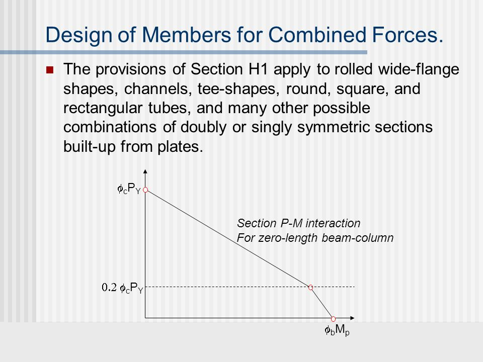 Design of Members for Combined Forces. The provisions of Section H1 apply to rolled wide-flange shapes, channels, tee-shapes, round, square, and recta