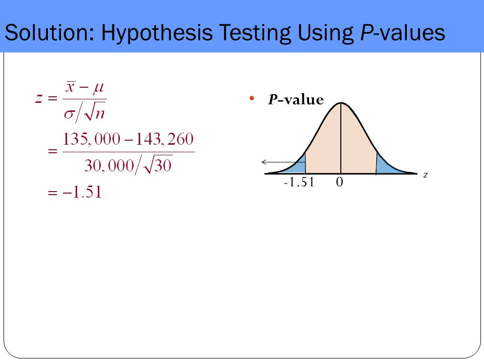 Solution: Hypothesis Testing Using P-values P-value z 0-1.51
