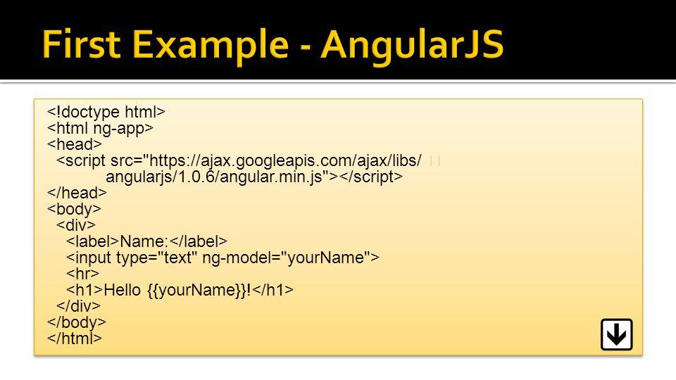 <script src= https://ajax.googleapis.com/ajax/libs/ angularjs/1.0.6/angular.min.js > Name: Hello {{yourName}}.