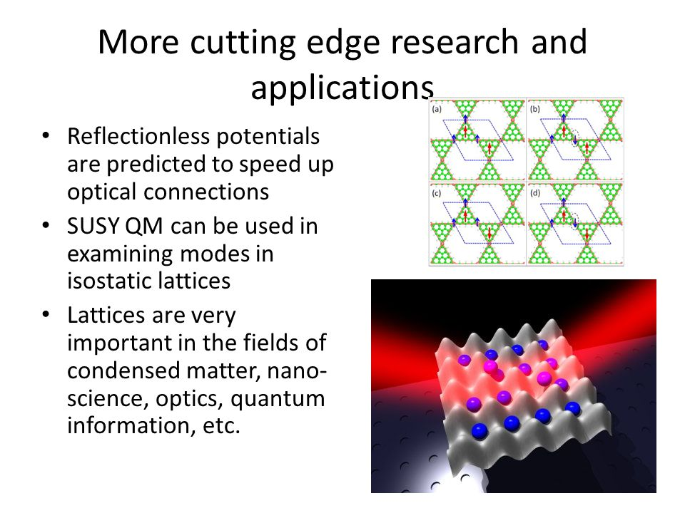 More cutting edge research and applications Reflectionless potentials are predicted to speed up optical connections SUSY QM can be used in examining m