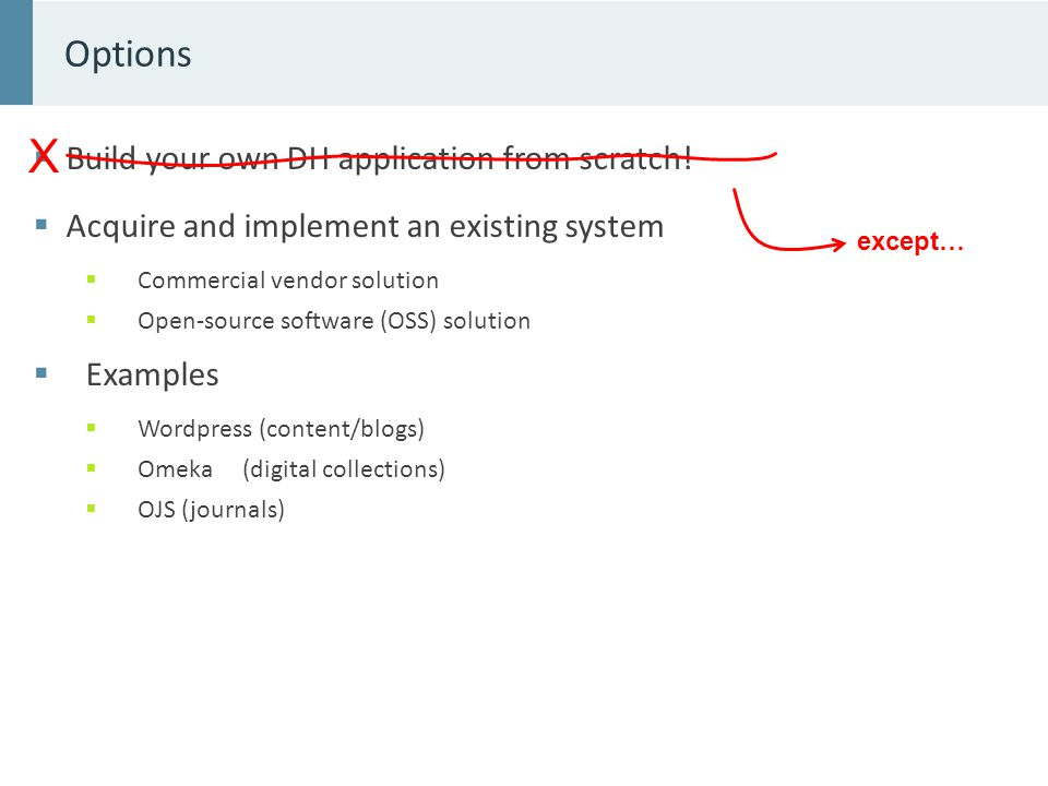  Build your own DH application from scratch.