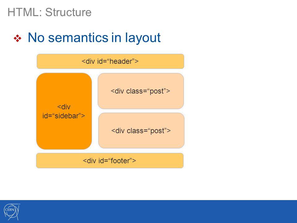 HTML: Structure  No semantics in layout