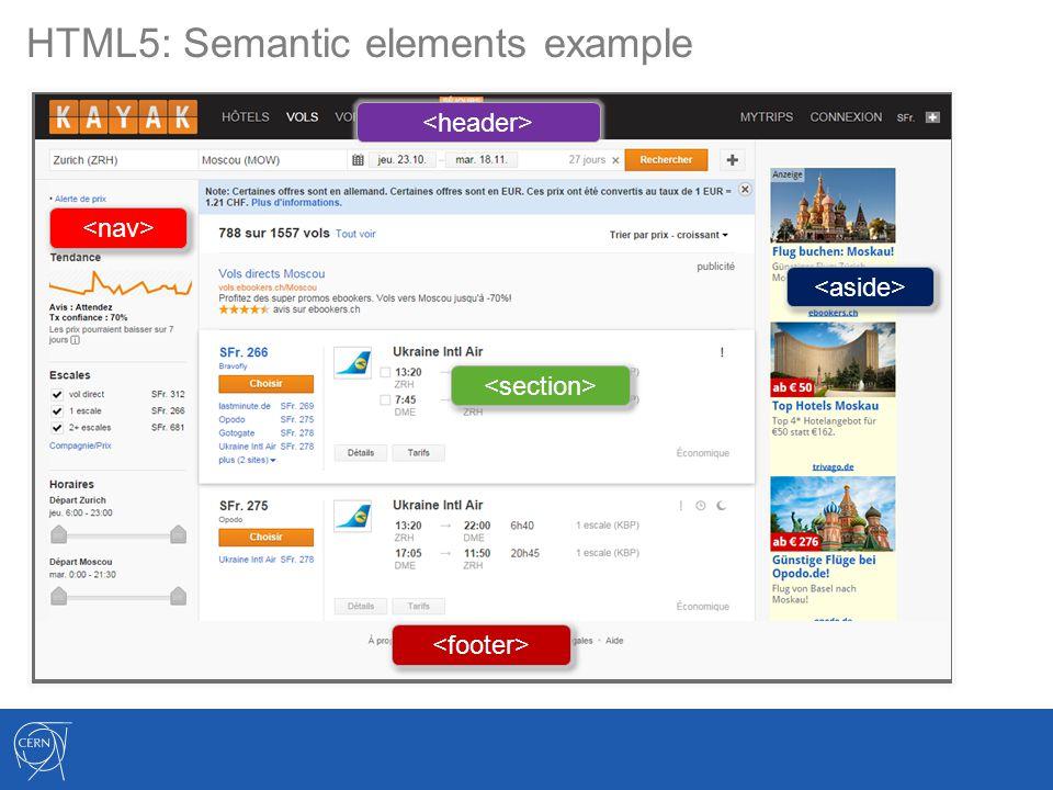 HTML5: Semantic elements example