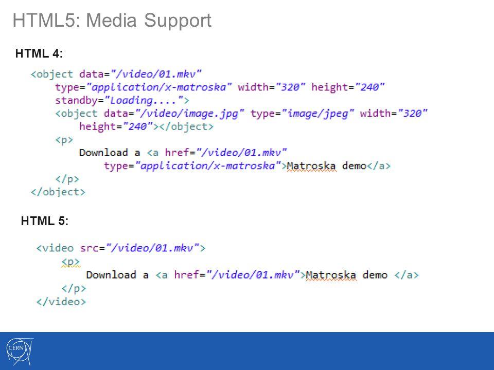 HTML5: Media Support HTML 4: HTML 5: