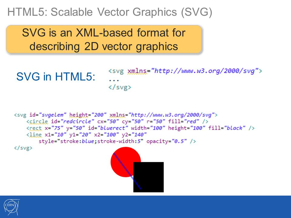 HTML5: Scalable Vector Graphics (SVG) SVG is an XML-based format for describing 2D vector graphics SVG in HTML5: