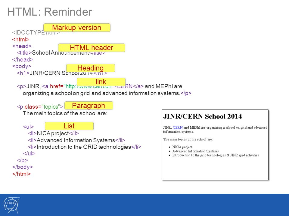 HTML: Reminder School Announcement JINR/CERN School 2014 JINR, CERN and MEPhI are organizing a school on grid and advanced information systems. The ma