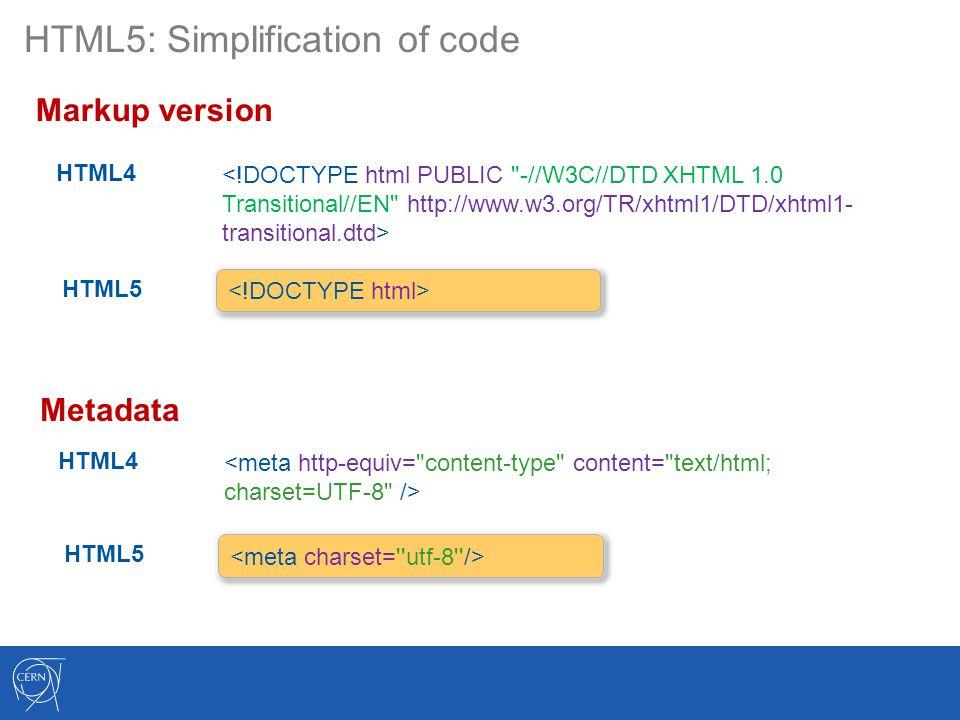 HTML5: Simplification of code Markup version HTML4 HTML5 Metadata HTML4 HTML5