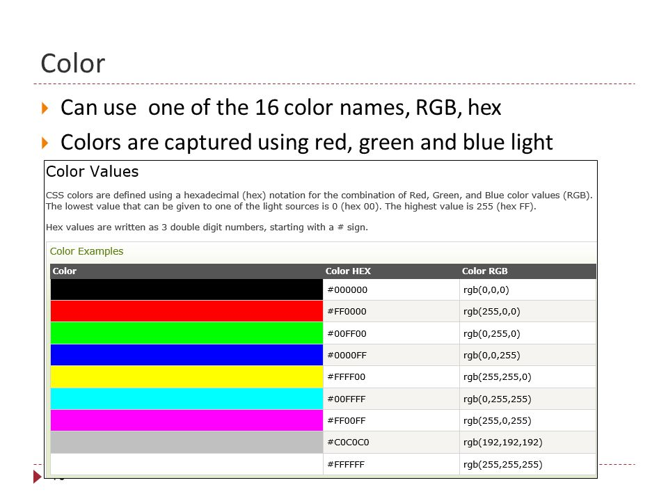Color 16  Can use one of the 16 color names, RGB, hex  Colors are captured using red, green and blue light