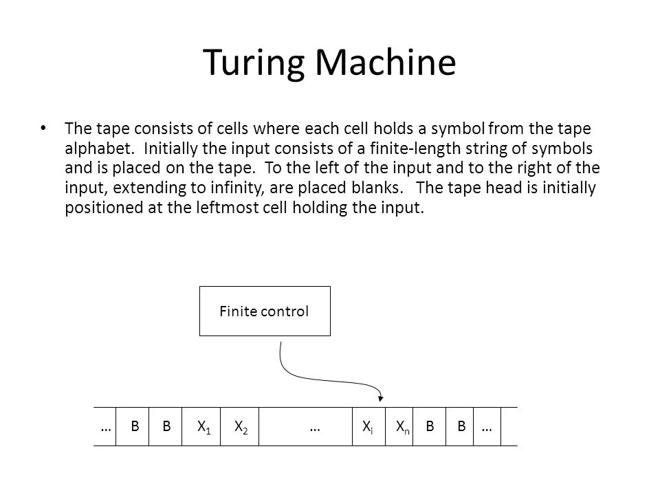 Turing Machine The tape consists of cells where each cell holds a symbol from the tape alphabet.